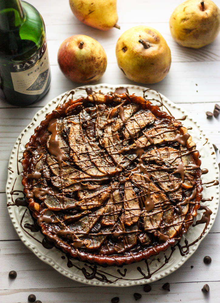 Port Wine Poached Pear & Chocolate Tart