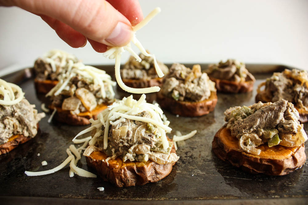 Sweet Potato Cheesesteak Sliders