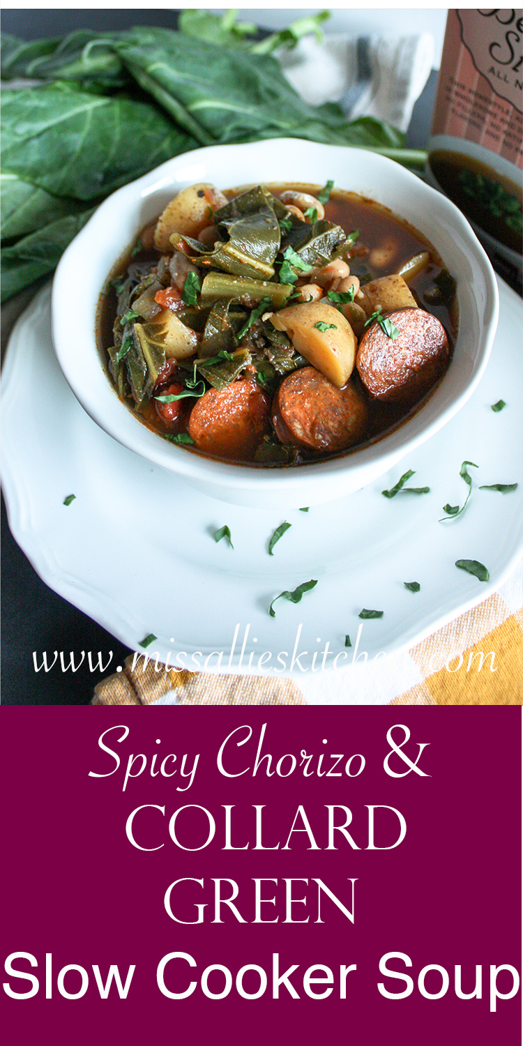 Spicy Chorizo and Collard Green Slow Cooker Soup