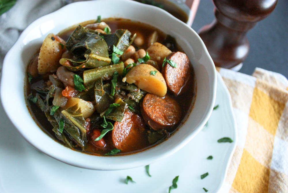 Spicy Collard Green and Chorizo Soup