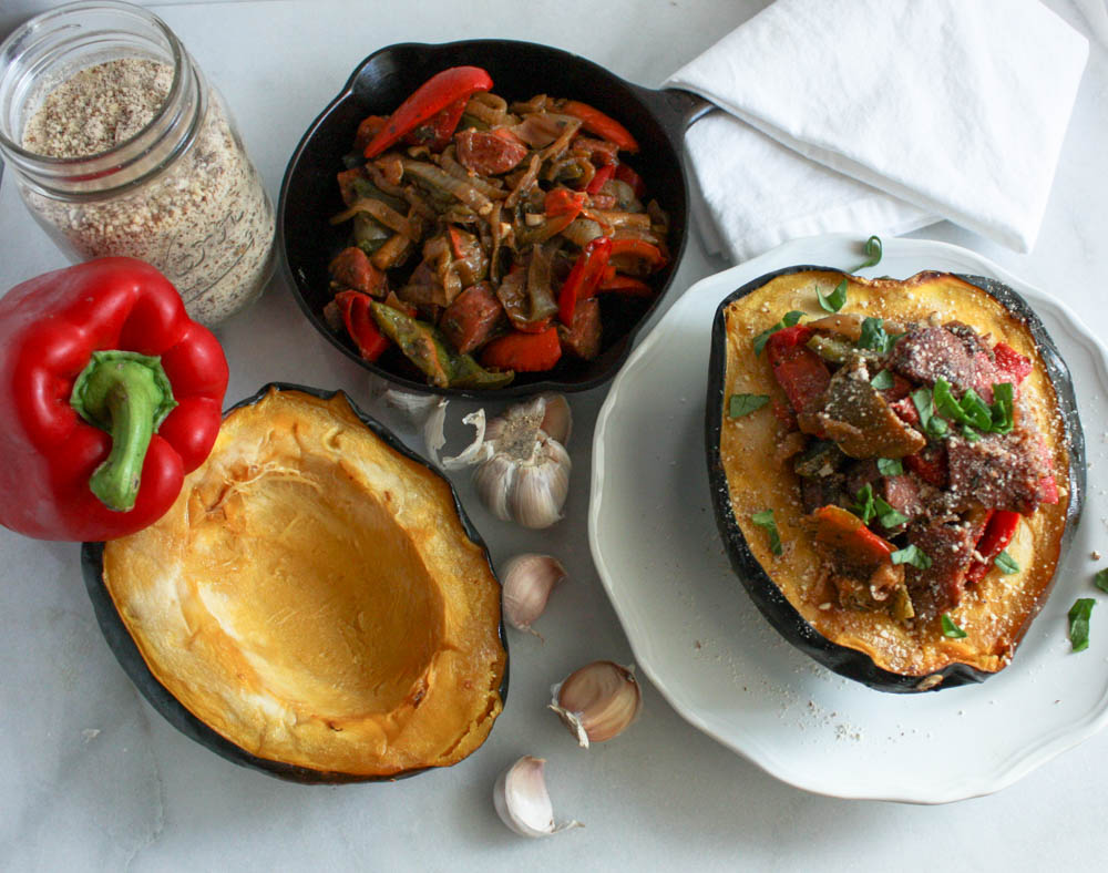 Quick Sausage and Peppers in Acorn Squash
