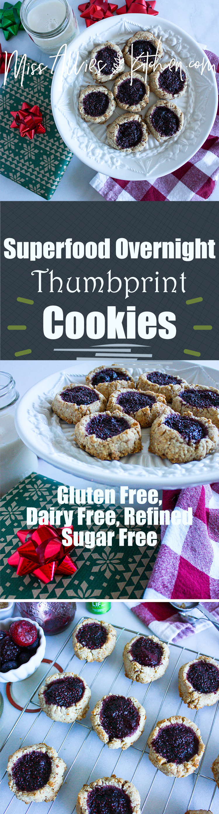 Gluten Free Superfood Overnight Thumbprint Cookies! A tender & flavorful classic cookie with a healthy twist! - Miss Allie's Kitchen