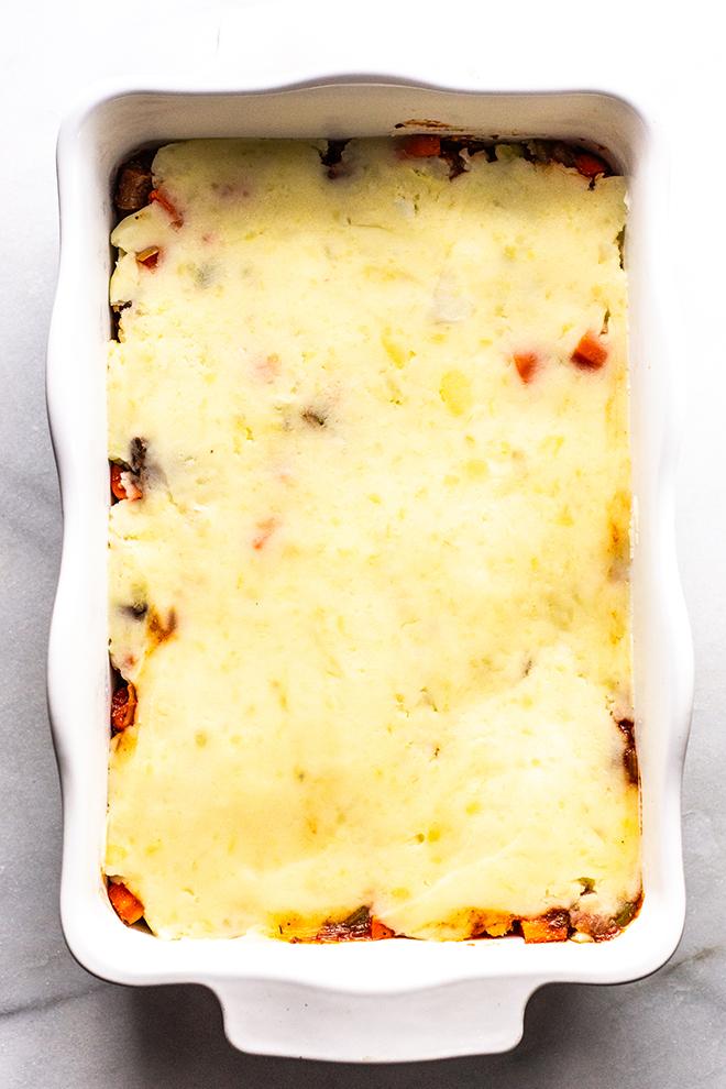prebaked shepherd's pie in a casserole dish