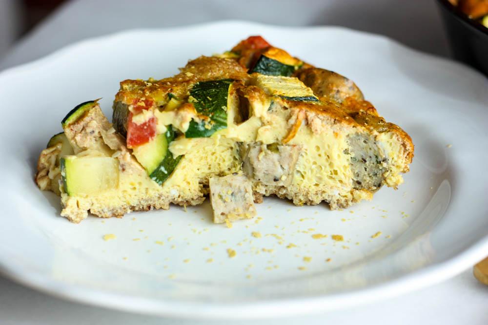 "Veggie & Sausage Quiche with ""Cheesy"" Dairy-Free Crust"