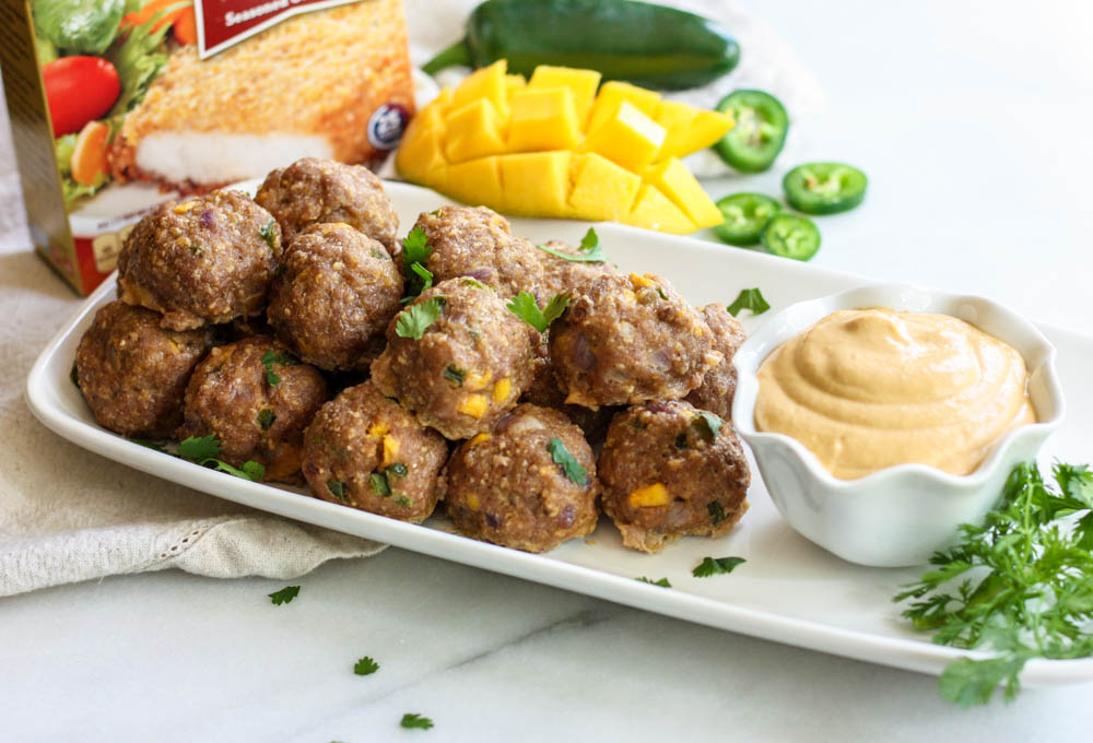 Mango Meatballs with Cashew Dipping Sauce