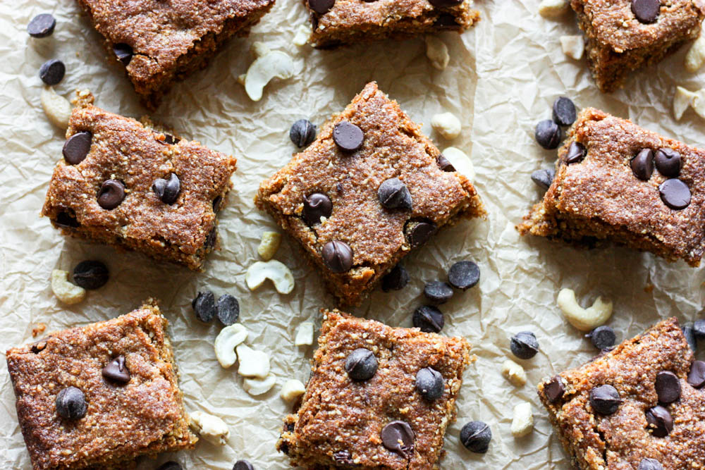 Chocolate Chip Cashew Cookie Bars