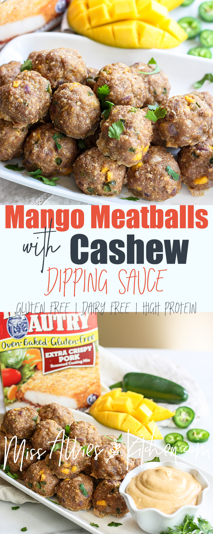 Gluten Free Mango Meatballs with Cashew Dipping Sauce