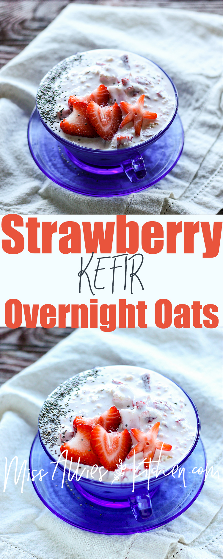 Strawberry Kefir Overnight Oats - a probiotic rich breakfast!