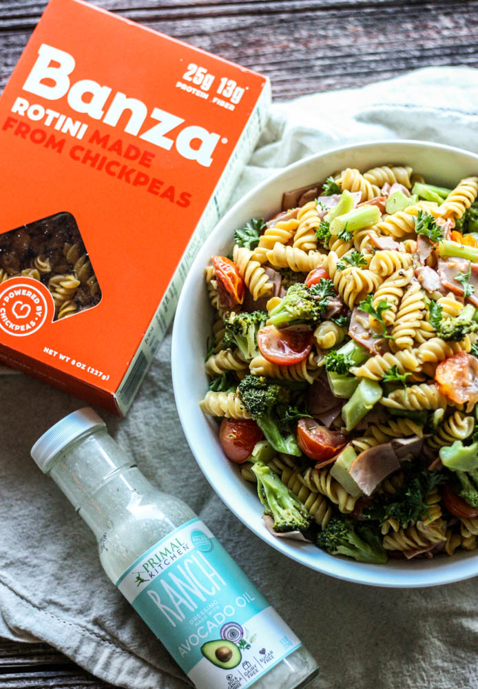 5 Ingredient Paleo Ranch Chickpea Pasta Salad