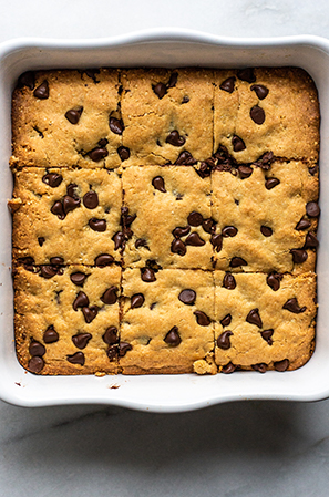 baked cookie bars in a white dish