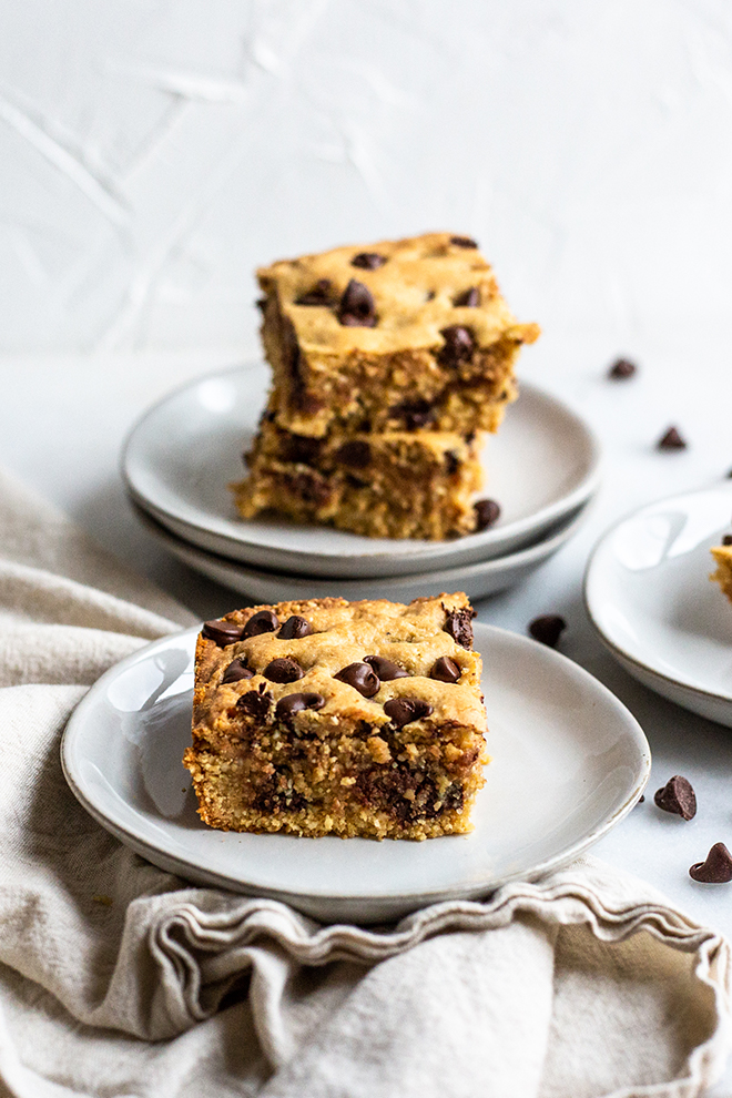 The dairy and grain freeChocolate Chip Cashew Cookie Bars are thick, decadent and gooey. You would never know they have healthy ingredient in them.