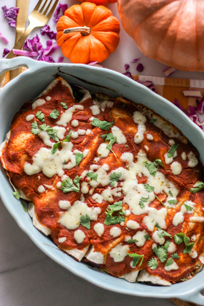 Harvest Turkey Enchiladas with Paleo Pumpkin Enchilada Sauce