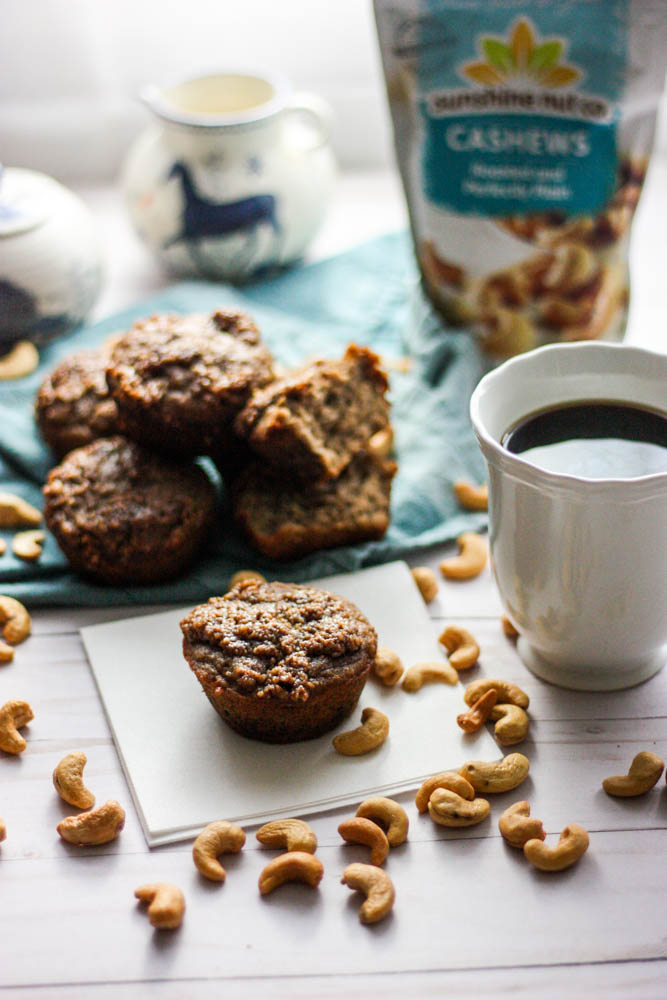 Paleo Cinnamon Streusel Banana Muffins - If you're looking for a healthy, moist, and protein filled treat thesePaleo Cinnamon Streusel Banana Muffins are the thing your breakfast table needs. These healthy and easy muffins use cashew and coconut flour to make the perfect muffin. They're flourless, low carb, gluten free, dairy free and high in protein because of the eggs. #paleo #paleobaking #paleofood #healthyfood #breakfast #muffin #glutenfree #dairyfree #lowcarb