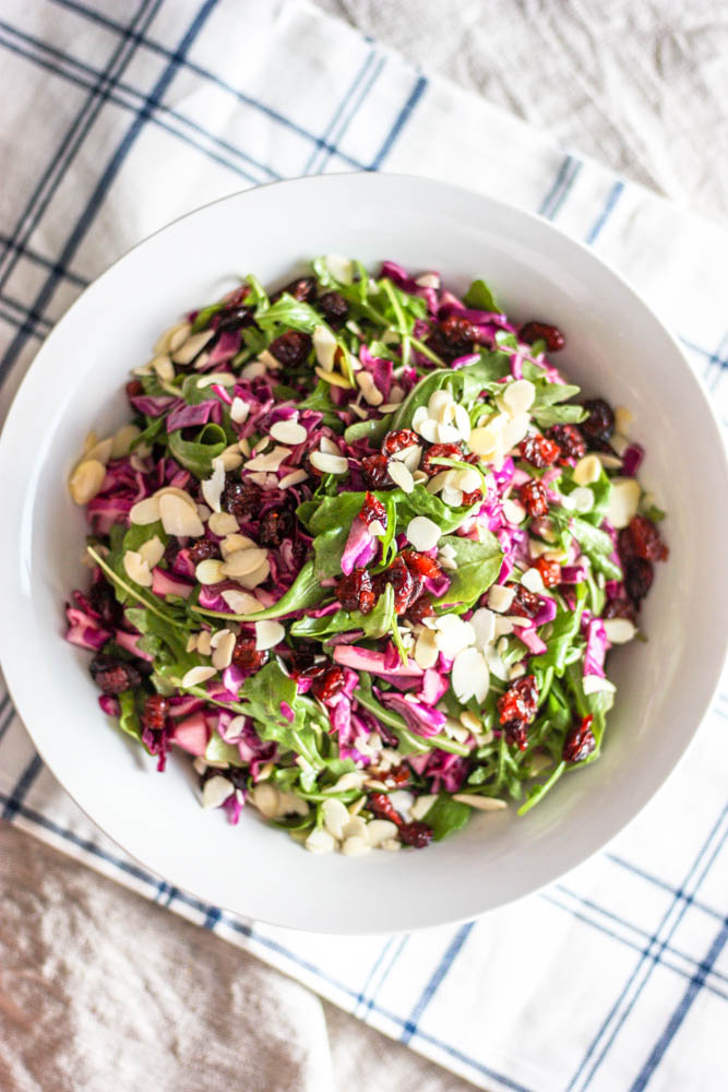 Purple Cabbage and Arugula Salad with Easy Dijon Dressing