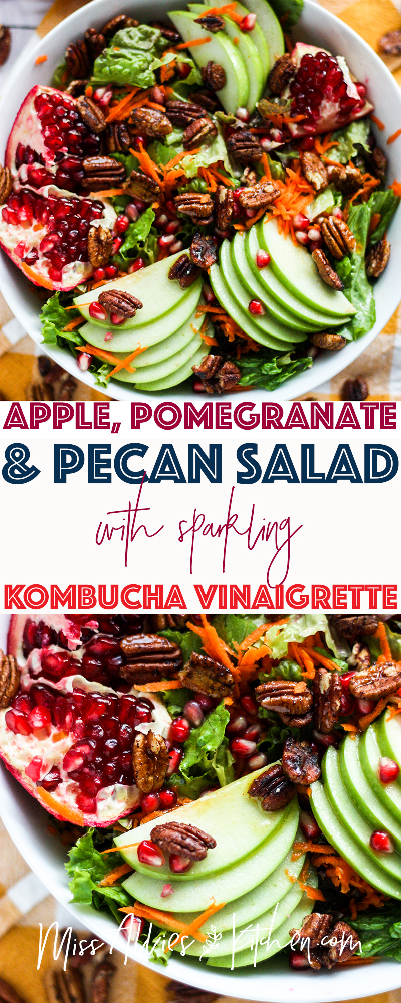 Apple Pomegranate & Pecan Salad with Sparkling Kombucha Vinaigrette