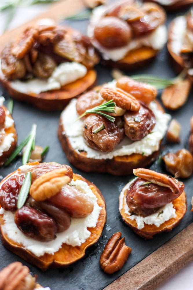 Roasted Grape, Rosemary & Goat Cheese Sweet Potato Melbas