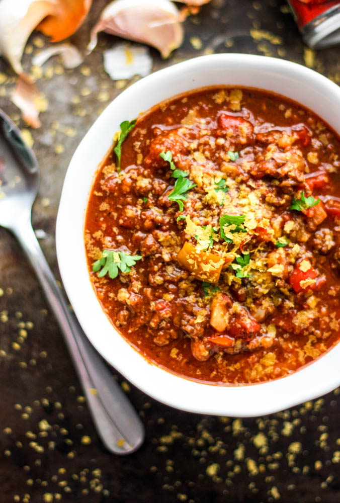 Whole30 Cauliflower Freezer Chili