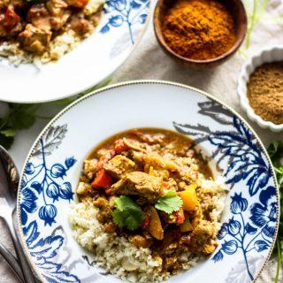 Whole30 Freezer Chicken Tikka Masala with Cauliflower Rice