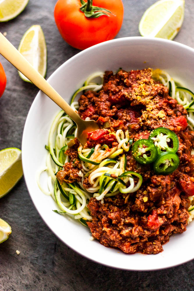 "Whole30 Taco Zoodle ""Spaghetti"""