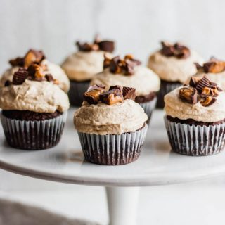 Grain-Free Double Chocolate Cupcakes with Dairy Free Peanut Butter Frosting