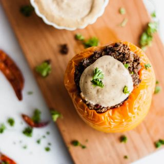 Whole 30 Mexican Stuffed Peppers with Spicy Chili Mayo