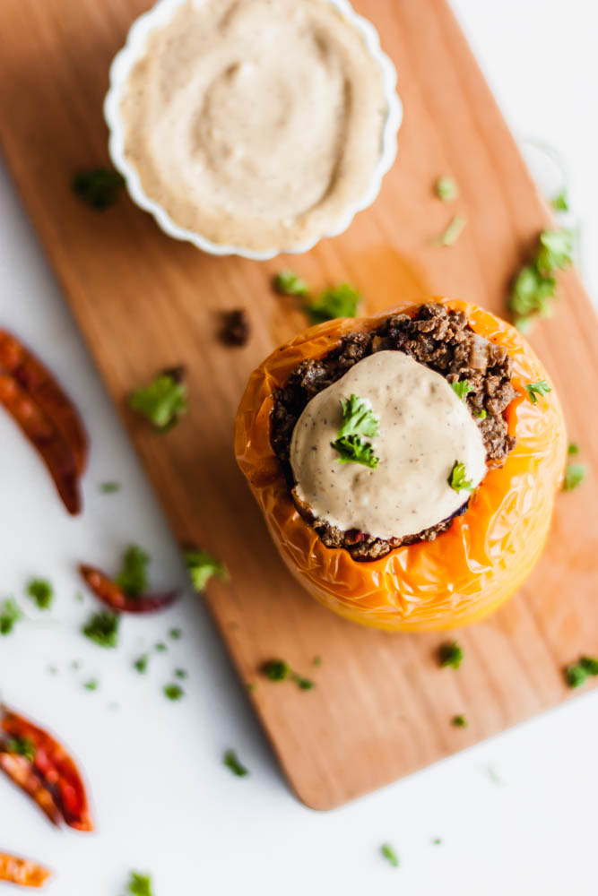 Hearty and Healthy Whole 30 Mexican Stuffed Peppers with Spicy Chili Mayo that's flavorful and creamy.