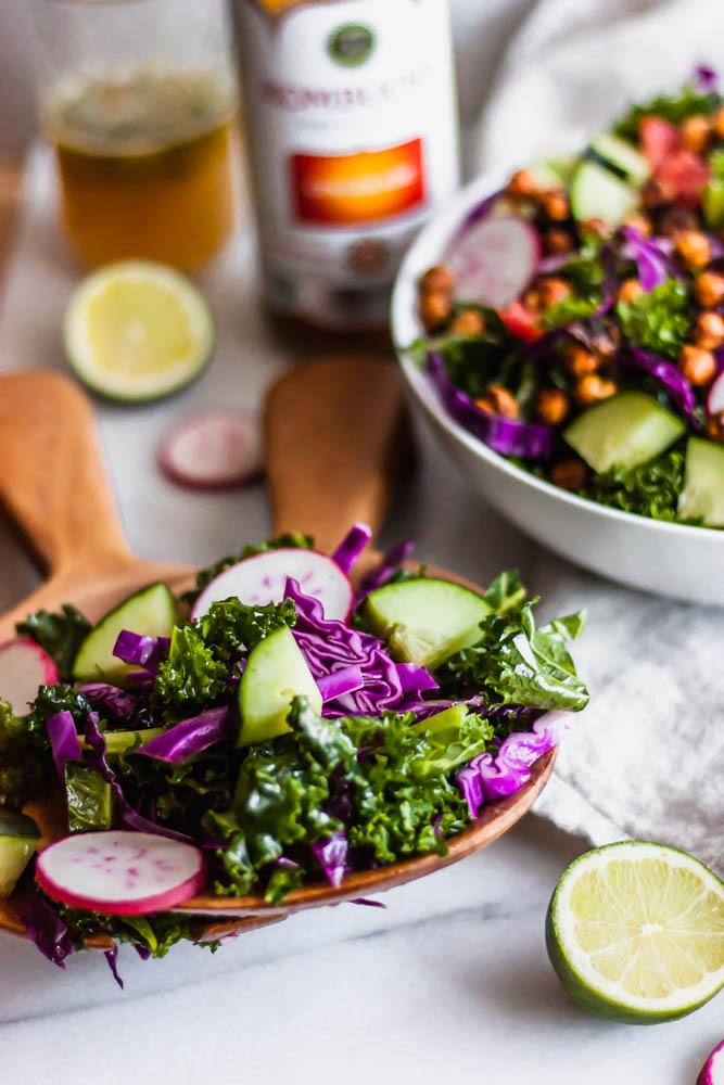 Crispy Chili Roasted Chickpea & Kale Salad with Ginger Lime Vinaigrette