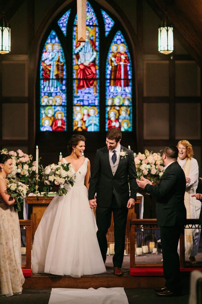 traditional church wedding exit
