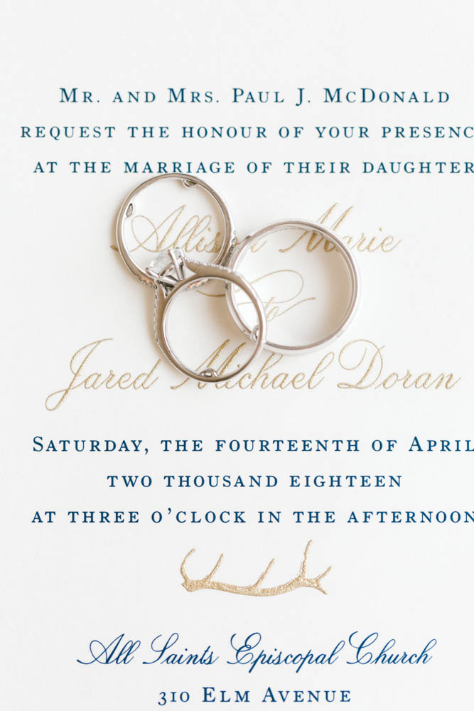 antler detail wedding invitations