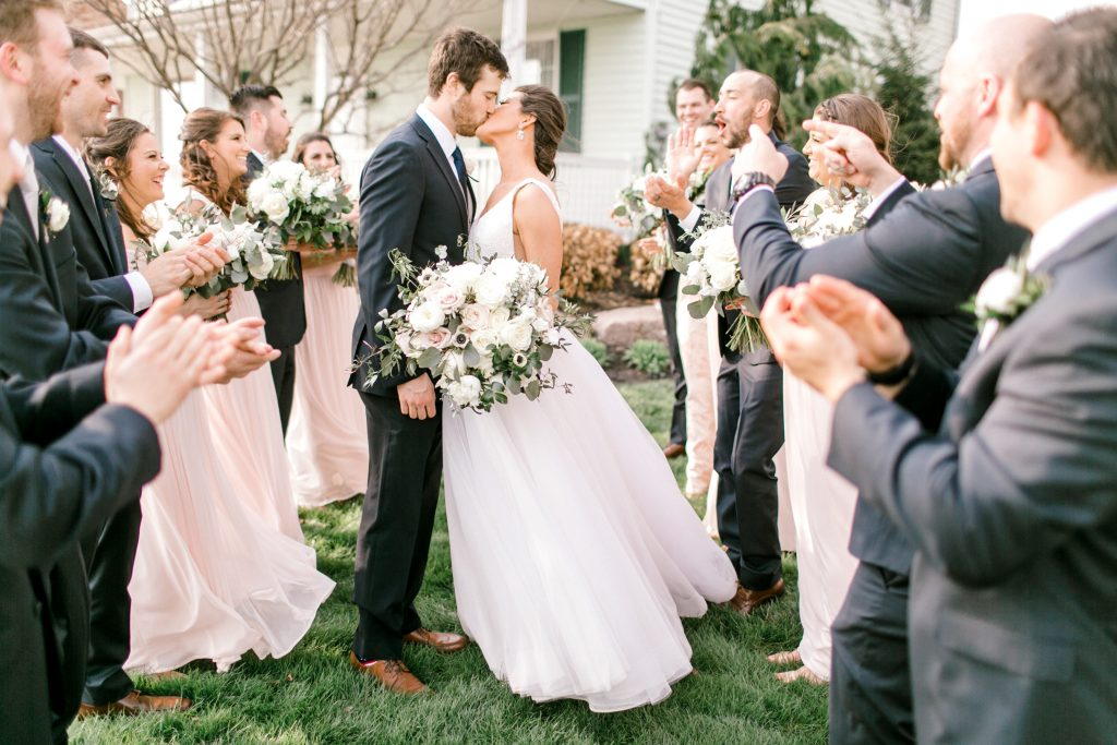 blush and navy bridal party photos