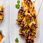 Whole30 Cashew Chicken Satay Skewers with Chili Cashew Dipping Sauce