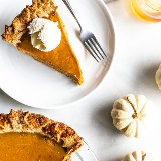 Maple Bourbon Pumpkin Pie with Pecan Buttermilk Crust