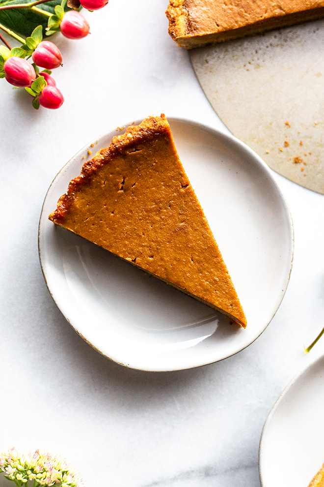 pumpkin tart on a small white plate