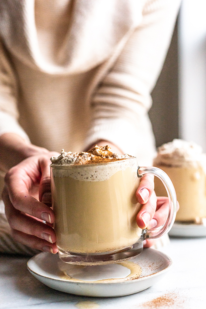 Frothy Irish Coffee made easily in the blender topped with Cinnamon Infused Whipped Cream.