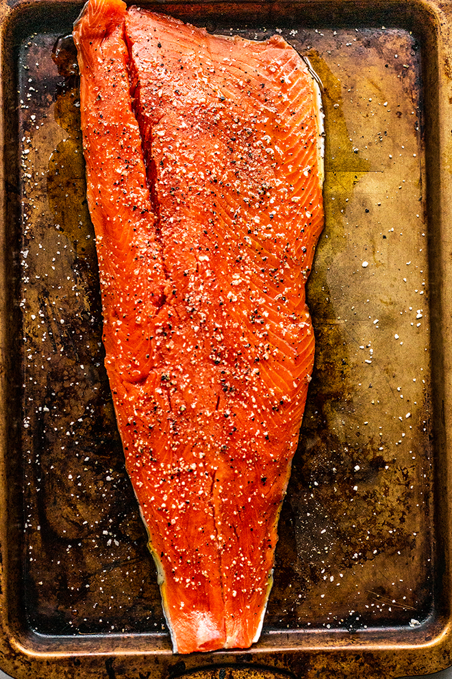 beautiful salmon on a sheet pan