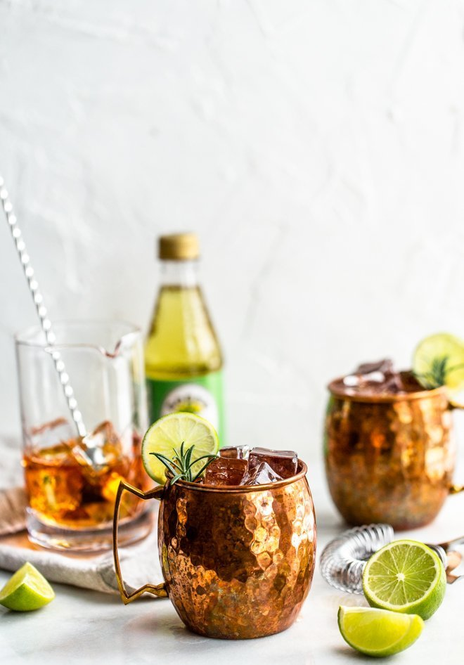 An Irish Mule is simply a twist on the famous Moscow Mule - it uses whiskey instead of vodka and is full of refreshing lime-ginger flavor.