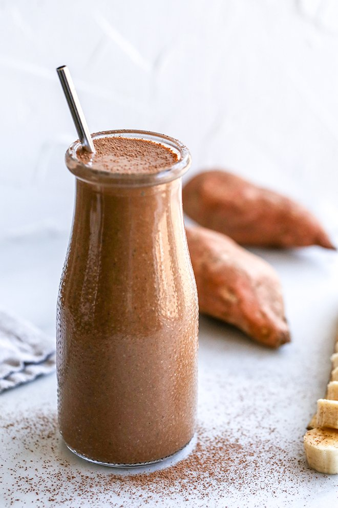 This healthy mocha smoothie is packed with good for you ingredients like sweet potato, banana, Greek yogurt, and chia seeds, plus, it packs a caffeine punch!