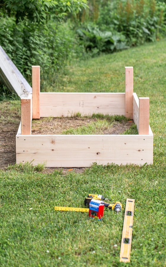 a 4'x8' wood, raised garden bed