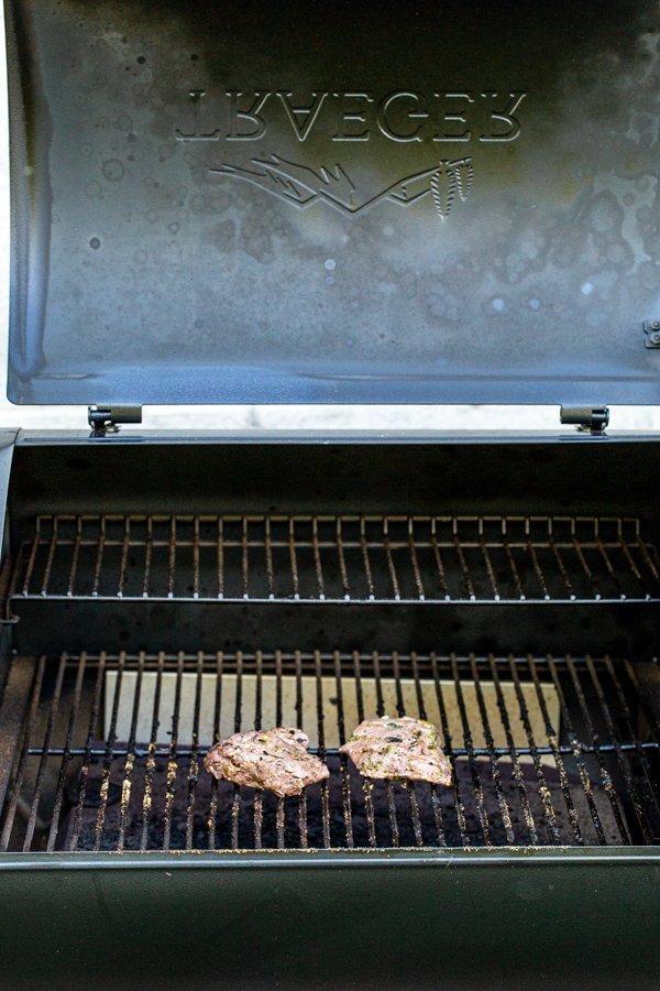 elk steaks on a grill