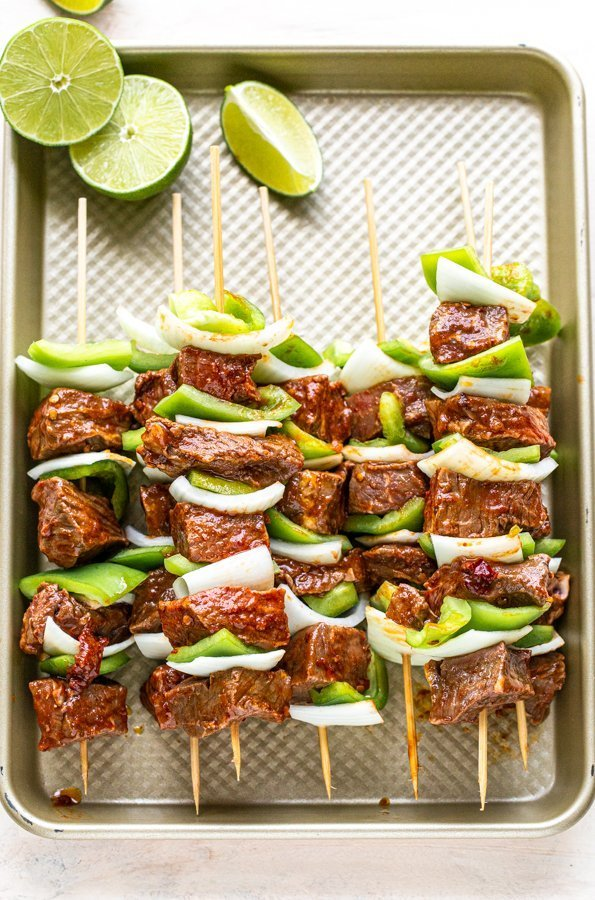 chipotle steak kabobs on a sheet pan ready for the groll