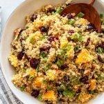 orange cranberry quinoa salad in a white bowl