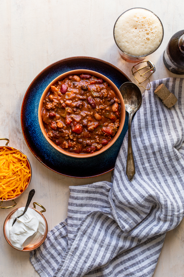 beer chili in an orange bowl