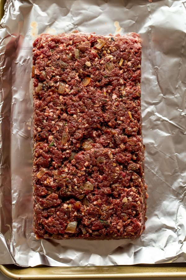 meatloaf made with venison on tin foil