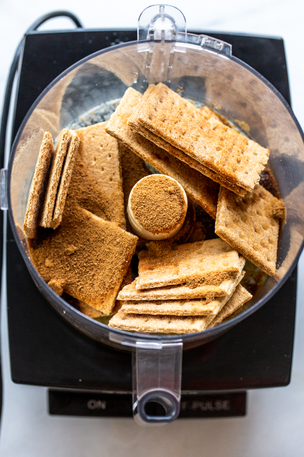 graham crackers and sugar in a food processor