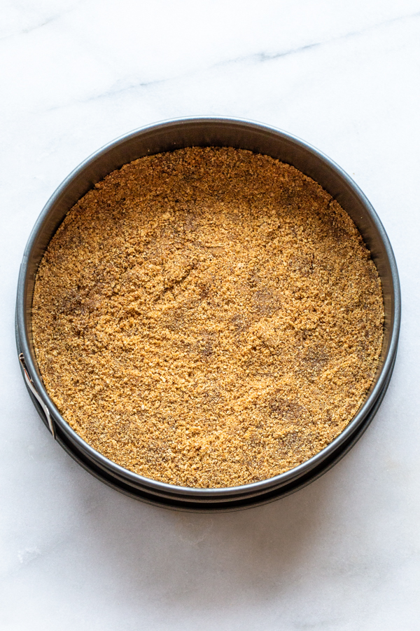 graham cracker crust in a springform pan