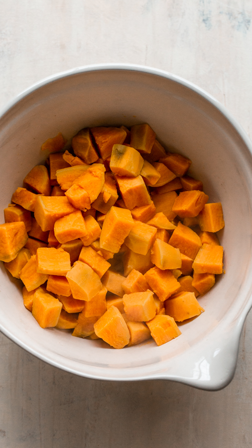 cooked sweet potatoes in a bowl