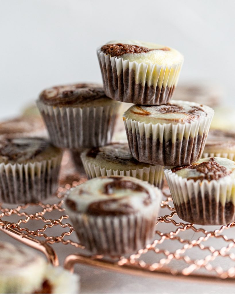 brownie cheesecake bites stacked