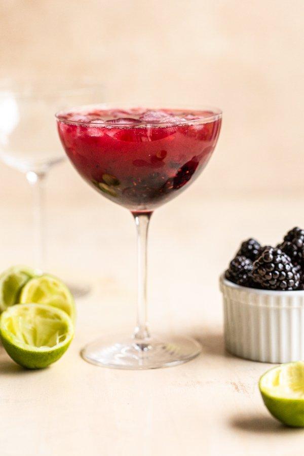 blackberry mockarita in a coupe glass
