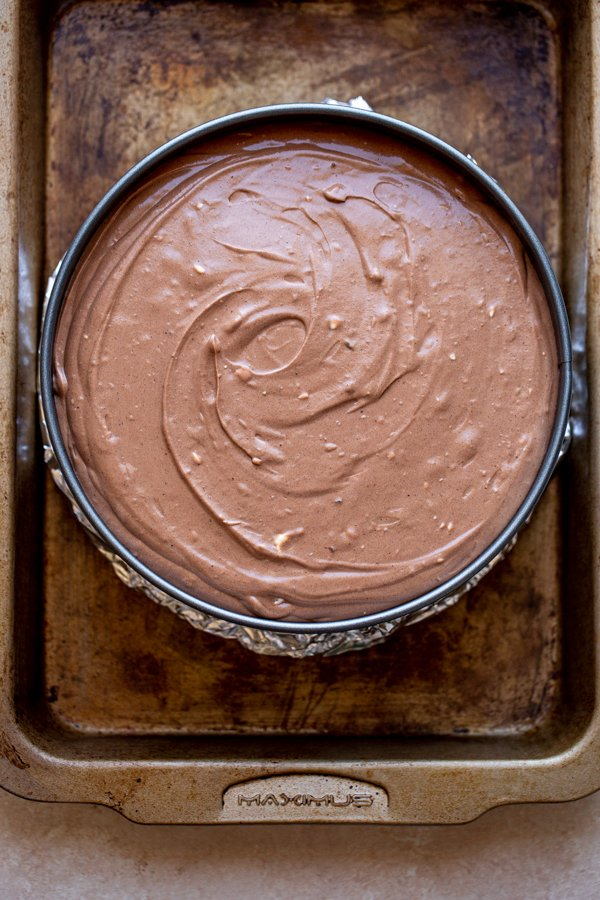 unbaked chocolate cheesecake ready for the oven