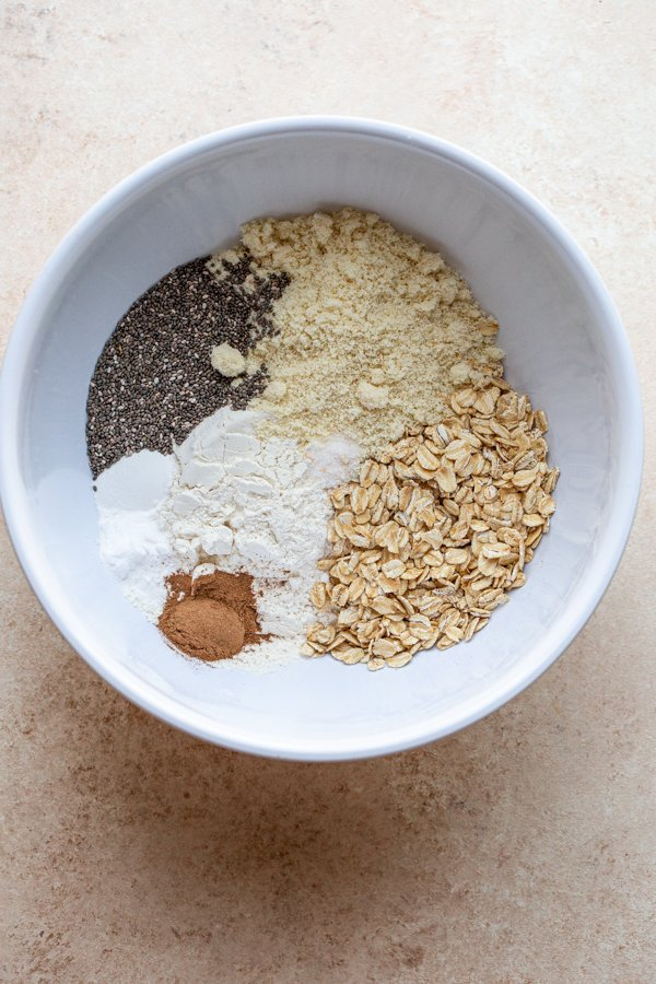 dry ingredients for muffins in a bowl